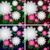 Sömlös modell för blomma i fyra färger. Royaltyfri Fotografi