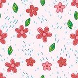 Sömlös modell för blomma och för regn Arkivfoton