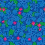 Sömlös modell för blommabatikblått royaltyfri illustrationer