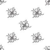 Sömlös modell för blommaklotter också vektor för coreldrawillustration bakgrundsdesignelement fyra vita snowflakes royaltyfri illustrationer