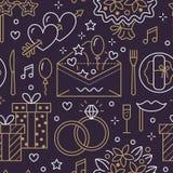 Sömlös modell för bröllopparti, plan linje illustration Byrån för vektorsymbolshändelsen ringer, ballonger, gåvor, inbjudan Royaltyfria Bilder