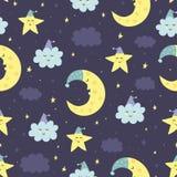 Sömlös modell för bra natt med den gulliga sova månen, stjärnor Arkivbild