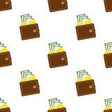 Sömlös modell för brun plånboklägenhetsymbol Royaltyfri Fotografi
