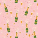 Sömlös modell för Champagneflask- och exponeringsglasvektor på rosa lodisar stock illustrationer