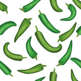 Sömlös modell för chilepeppar Grön grönsakmodell för tegelplatta veg Arkivbild