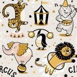 Sömlös modell för cirkus vektor illustrationer