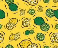 Sömlös modell för citroner och för limefrukter Royaltyfri Bild