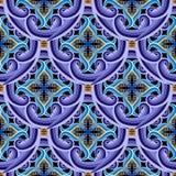 Sömlös modell för dekorativ för arabesquestiltappning vektor för grek Härlig färgrik mönstrad bakgrund Gjorde randig linjer, kurv royaltyfri illustrationer