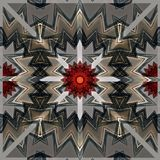 Sömlös modell för Digital konstdesign med röda och gråa stjärnor Royaltyfria Foton