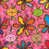 Sömlös modell för djur blomma för framsida gullig färgrik stock illustrationer