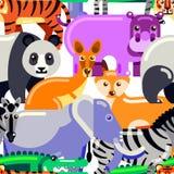 Sömlös modell för djur Plan illustration för vektor av zoo färgrik bakgrundstecknad film stock illustrationer