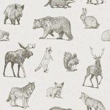 Sömlös modell för djurteckningar stock illustrationer
