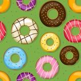 Sömlös modell för Donuts vektor illustrationer