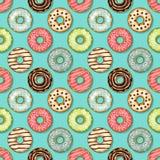 Sömlös modell för Donuts på blå bakgrund stock illustrationer