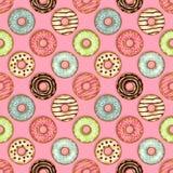 Sömlös modell för Donuts på rosa bakgrund royaltyfri illustrationer