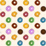 Sömlös modell för efterrättmatvektor med färgrika donuts stock illustrationer