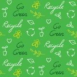 Sömlös modell för ekologi med återvinningsymbol och text Royaltyfri Bild