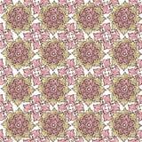 Sömlös modell för elegans med blom- bakgrund Dekorativ prydnad i rosa pastell för tyg stock illustrationer