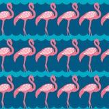 Sömlös modell för elegans med den rosa flamingo Vektor Illustrationer