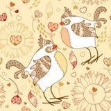Sömlös modell för elegans med tecknad filmfåglar på en beige bakgrund Stock Illustrationer