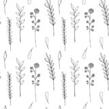 Sömlös modell för färgpulvervildblommor Utdragen vallmo för hand, kardborre, vete, gräs, lös ros, kamomill, blåklint, pelargon stock illustrationer