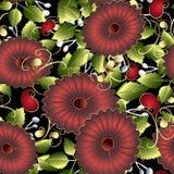 Sömlös modell för färgrik blom- vektor 3d Ljus dekorativ sommarbakgrund Röda 3d blommor, gröna sidor, virvlar ethnic stock illustrationer