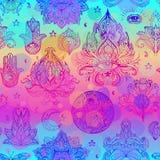 Sömlös modell för färgrik regnbåge av dekorativ Boho stil Eleme vektor illustrationer