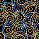 Sömlös modell för färgrik spiralvektor Dekorativ ljus geom royaltyfri illustrationer