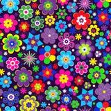 Sömlös modell för färgrik vår med den dekorativa stiliserade mångfärgade blomman stock illustrationer