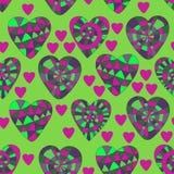 Sömlös modell för färgrik vektor av härliga hjärtor De bästa för dag, bröllop och födelsedag för valentin` s planlägger royaltyfri illustrationer