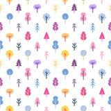 Sömlös modell för färgrika abstrakta träd Royaltyfria Bilder