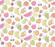 Sömlös modell för färgrika frukter också vektor för coreldrawillustration Arkivfoto