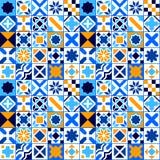Sömlös modell för färgrika geometriska tegelplattor i den blå apelsinen och vit, vektor Arkivbild