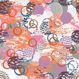 Sömlös modell för färgrikt grungeabstrakt begrepp med olika sjaskiga runda former stock illustrationer