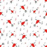Sömlös modell för fågel, vårbakgrund med sjungande fåglar Royaltyfri Bild