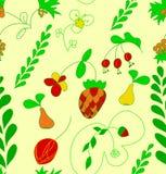 Sömlös modell för för handattraktionfrukt och blomma. royaltyfri illustrationer