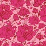 Sömlös modell för för rosa färgblommor och sidor Royaltyfria Bilder