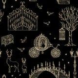 Sömlös modell för förtrollad skog med tappningporten, lykta, vagn, bro, träd, bröstkorg, bur, spegel, hjort stock illustrationer