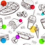 Sömlös modell för Fastfood Hand drog isolerade vektorobjekt Hamburgare pizza, varmkorv, ostburgare, kaffe, is stock illustrationer