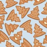 Sömlös modell för festlig jul med pepparkakajul tr royaltyfri illustrationer