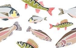Sömlös modell för fisk Royaltyfri Fotografi