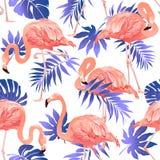 Sömlös modell för flamingofågel och för tropisk blommabakgrund stock illustrationer