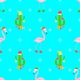 Sömlös modell för flamingojul Arkivfoton