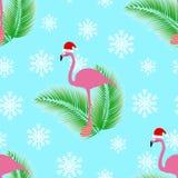 Sömlös modell för flamingovinterstil royaltyfri illustrationer