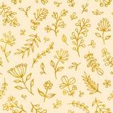 Sömlös modell för Folk blommatappningraster Utdragen bakgrund för etnisk blom- hand för motiv beige Guld- kontur royaltyfri illustrationer