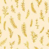 Sömlös modell för Folk blommatappningraster Utdragen bakgrund för etnisk blom- hand för motiv beige Guld- kontur stock illustrationer