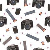 Sömlös modell för fotoutrustning, garnering för inpackningspapper, bakgrund, reklamblad och affischer för fotografer stock illustrationer