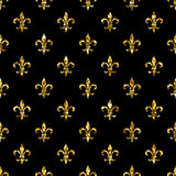 Sömlös modell för fransk lilja Ols stilmall Blom- klassisk textur Retro bakgrund Fleur de lis för kunglig lilja Designvintag Royaltyfria Bilder