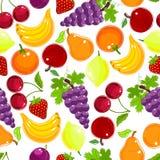 Sömlös modell för frukter och för bär royaltyfri illustrationer