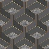 Sömlös modell för geometrisk grå vektor för grek 3d Abstrakt dekorativ yttersidabakgrund Prydnad f?r grektangentslingringar geome royaltyfri illustrationer